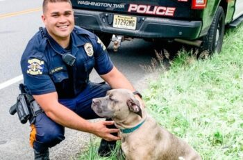 Cop with saved Dog